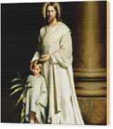 Christ And The Young Child Wood Print