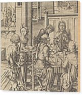 Christ At Emmaus Wood Print