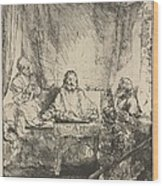 Christ At Emmaus: The Larger Plate Wood Print