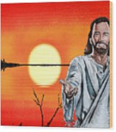 Christ At Sunrise Wood Print