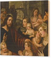 Christ Blessing The Children Wood Print
