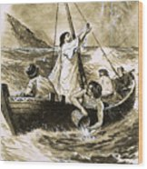 Christ Calming The Storm Wood Print
