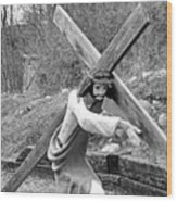 Christ Carrying Cross, Vadito, New Mexico, March 30, 2016 Wood Print