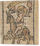 Christ Child On Donkey Wood Print