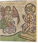 Christ Child With Three Angels Wood Print