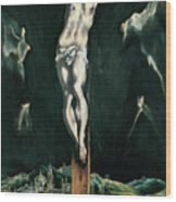 Christ Crucified With Toledo In The Background Wood Print