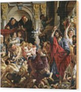 Christ Driving The Merchants From The Temple Wood Print