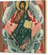 Christ Enthroned - Rlcen Wood Print