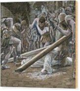 Christ Falls Beneath The Cross Wood Print by Tissot