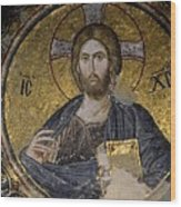 Christ Holds Bible In Mosaic At Chora Church Istanbul Turkey Wood Print