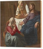 Christ In The House Of Martha And Mary Wood Print