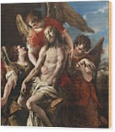 Christ Mourned By Three Angels Wood Print