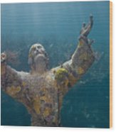 Christ Of The Abyss Statue On Dry Rocks Reef In Key Largo Florida Wood Print