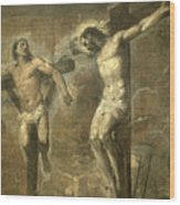Christ On The Cross And The Good Thief Wood Print