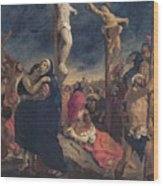 Christ On The Cross Wood Print by Delacroix