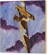 Christ On The Cross Wood Print by Michael Vigliotti