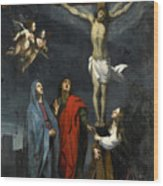 Christ On The Cross With Saint John And Mary Magdalene Wood Print