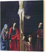 Christ On The Cross With The Virgin Mary Magdalene St John And St Francis Of Paola Wood Print by Nicolas Tournier