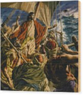Christ On The Sea Of Galilee Wood Print by Jack Hayes
