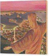 Christ Over Rio Wood Print