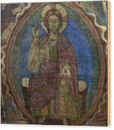 Christ Pantocrator Fresco. Basilica Saint-julien. Brioude. Haute Loire. Auvergne. France. Wood Print by Bernard Jaubert