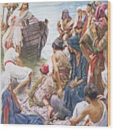 Christ Preaching From The Boat Wood Print