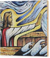 Christ Rebukes The Wind And Waves Wood Print