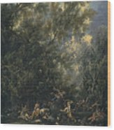 Christ Served By The Angels Wood Print