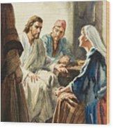 Christ Talking Wood Print