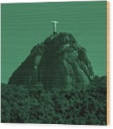 Christ The Redeemer In Green Sky Wood Print