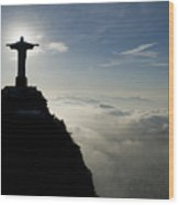 Christ The Redeemer Statue At Sunrise Wood Print by Joel Sartore