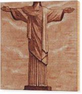 Christ The Redeemer Statue Original Coffee Painting Wood Print