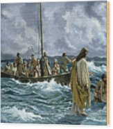 Christ Walking On The Sea Of Galilee Wood Print