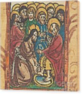 Christ Washing The Feet Of The Apostles Wood Print