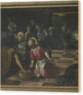 Christ Washing The Feet Of The Disciples Wood Print