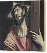 Christ With The Cross Wood Print