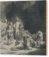 Christ With The Sick Around Him, Receiving Little Children Wood Print