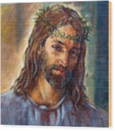 Christ With Thorns Wood Print