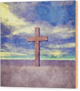 Christian Cross Landscape Wood Print