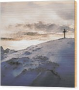 Christian Cross On Mountain Wood Print