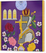 Christian Knights Of The Cross And Rose Wood Print