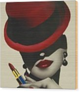 Christion Dior Red Hat Lady Wood Print