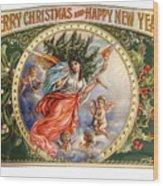 Christmas Angel Label Wood Print