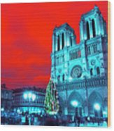 Christmas At Notre Dame Pop Art Wood Print