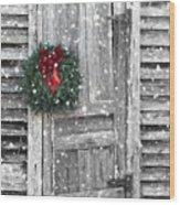 Christmas At The Farm Wood Print