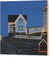 Christmas At The Nubble  Wood Print