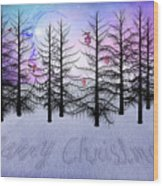 Christmas Bare Trees Wood Print