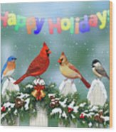 Christmas Birds And Garland Wood Print by Crista Forest