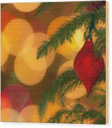 Christmas Bokeh Wood Print