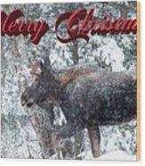 Christmas Bull Moose Wood Print